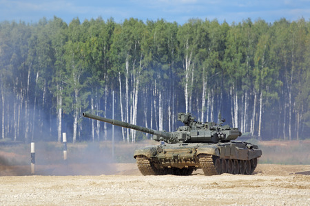 MILITARY GROUND ALABINO, MOSCOW OBLAST, RUSSIA - SEP 10, 2016: The T-90 is a third-generation Russian battle tank at the International military-technical forum ARMY-2016