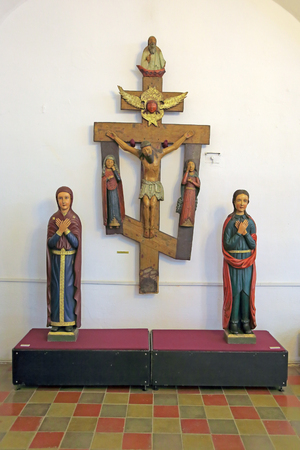 bystanders: ROSTOV, YAROSLAVL OBLAST, RUSSIA - MAY 02, 2014: White dining room chamber (the Museum of Church antiquities) on the territory of the Rostov Kremlin (Golden Ring). The sculpture of the Crucifixion with bystanders, the sculpture of our lady and John the Ev Editorial