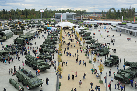 attendee: KUBINKA, MOSCOW OBLAST, RUSSIA - SEP 10, 2016: International military-technical forum ARMY-2016 in military-Patriotic park. Top view