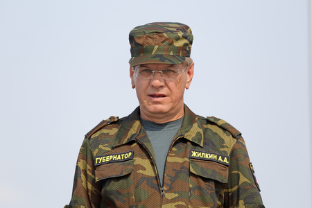 governor: ASHULUK TRAINING AREA, ASTRAKHAN REGION, RUSSIA - AUG 07, 2016: Alexander Zhilkin - Governor of Astrakhan region on the contest Keys to the sky within the International army games - 2016 Editorial