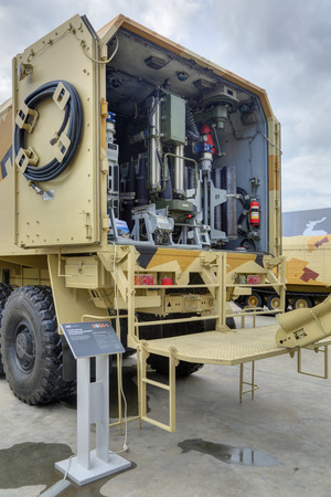 artillery shell: KUBINKA, MOSCOW OBLAST, RUSSIA - SEP 06, 2016: Transport loading machine for artillery at the International military-technical forum ARMY-2016