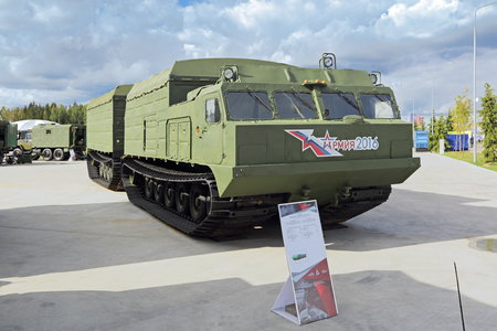 showpiece: KUBINKA, MOSCOW OBLAST, RUSSIA - SEP 06, 2016: Two-section tracked transporter at the International military-technical forum ARMY-2016