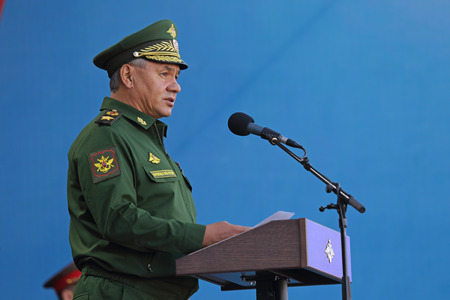 KUBINKA, MOSCOW OBLAST, RUSSIA - SEP 06, 2016: Sergey Kuzhugetovich Shoygu - Minister of Defence of the Russian Federation at the opening ceremony of the International military-technical forum ARMY-2016