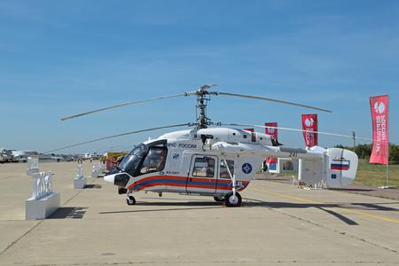 KA: ZHUKOVSKY, MOSCOW REGION, RUSSIA - AUG 24, 2015: The helicopter Kamov Ka-226T of EMERCOM of Russia at the International Aviation and Space salon MAKS-2015