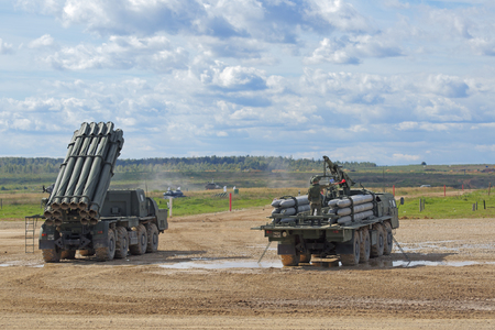 MILITARY GROUND ALABINO, MOSCOW OBLAST, RUSSIA - SEP 10, 2016: The BM-30 Smerch is a Russian heavy multiple rocket launcher and transport-loading vehicle at the International military-technical forum ARMY-2016
