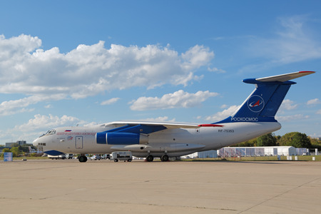 weightlessness: ZHUKOVSKY, MOSCOW REGION, RUSSIA - AUG 23, 2015: The Ilyushin Il-76MDK - airplane for training astronauts in conditions of weightlessness artificial at the International Aviation and Space salon MAKS-2015