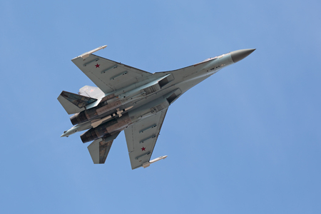 ZHUKOVSKY, RUSSIA - AUG 27, 2015: The Sukhoi Su-35 (NATO reporting name: Flanker-Ð•+) is a Russian perspective multi-role fighter of 4++ generation at the International Aviation and Space salon MAKS-2015