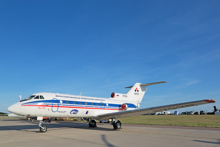 avionics: ZHUKOVSKY, MOSCOW REGION, RUSSIA - AUG 24, 2015: The Yakovlev Yak-40 Integrated modular avionics is a small passenger plane for local airlines at the International Aviation and Space salon MAKS-2015
