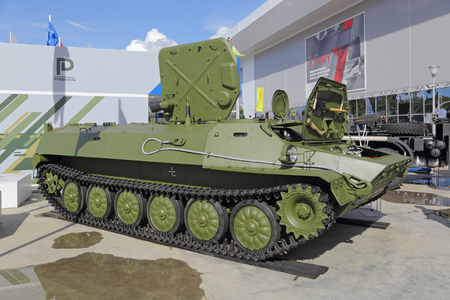 lightweight: KUBINKA, MOSCOW OBLAST, RUSSIA - SEP 06, 2016: Lightweight armored multipurpose floating chassis MLBSH at the International military-technical forum ARMY-2016