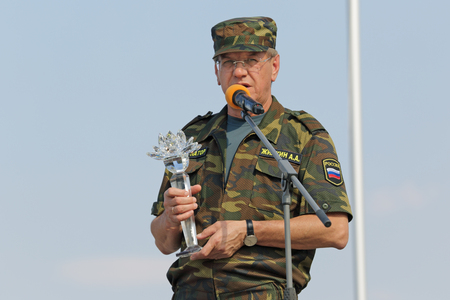 statesman: ASHULUK TRAINING AREA, ASTRAKHAN REGION, RUSSIA - AUG 07, 2016: Alexander Zhilkin - Governor of Astrakhan region on the contest Keys to the sky within the International army games - 2016 Editorial