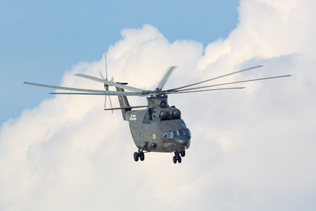 mi: ZHUKOVSKY, MOSCOW REGION, RUSSIA - AUG 27, 2015: A demonstration flight Russian heavy transport helicopter Mi-26 Halo at the International Aviation and Space salon MAKS-2015