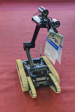 showpiece: KUBINKA, MOSCOW OBLAST, RUSSIA - SEP 06, 2016: Remotely controlled mobile robotic complex ROBOT-F1 at the International military-technical forum ARMY-2016