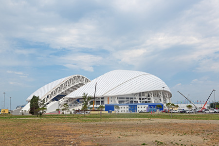 cup of russia: SOCHI, RUSSIA - AUG 05, 2015: Reconstruction of the Fisht Olympic Stadium to the FIFA World Cup 2018