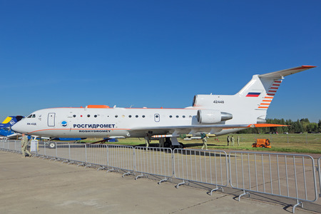 ZHUKOVSKY, MOSCOW REGION, RUSSIA - AUG 25, 2015: The Yakovlev Yak-42D Roshydromet - flying laboratory of geophysical monitoring of the atmosphere is a three-engined mid-range passenger jet at the International Aviation and Space salon MAKS-2015