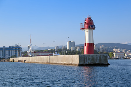 SOCHI, KRASNODAR KRAI, RUSSIA - AUG 07, 2015: Lighthouse in the commercial port of Sochi, Russia