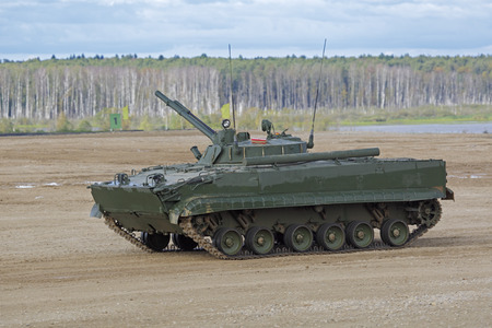 MILITARY GROUND ALABINO, MOSCOW OBLAST, RUSSIA - SEP 10, 2016: The BMP-3 (infantry combat vehicle) is a amphibious infantry fighting vehicle at the International military-technical forum ARMY-2016 Editorial