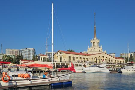 SOCHI, KRASNODAR KRAI, RUSSIA - AUG 07, 2015: Yachts and boats in the trade seaport city Editorial
