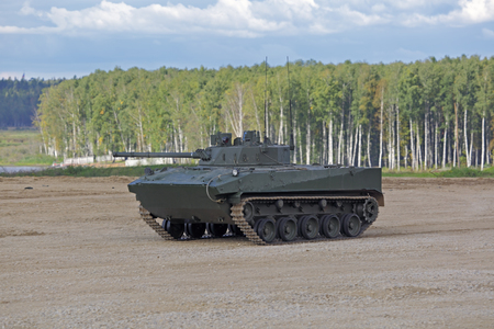 MILITARY GROUND ALABINO, MOSCOW OBLAST, RUSSIA - SEP 10, 2016: The Combat Vehicle of the Airborne BMD-4 (amphibious infantry fighting vehicle) at the International military-technical forum ARMY-2016