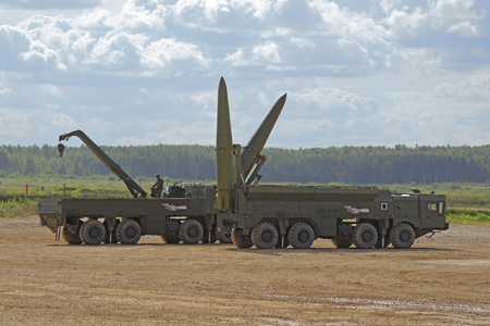 self testing: TRAINING GROUND ALABINO, MOSCOW REGION, RUSSIA - SEP 10, 2016: The russian mobile theater ballistic missile system 9K720 Iskander (SS-26 Stone) at the International military-technical forum ARMY-2016