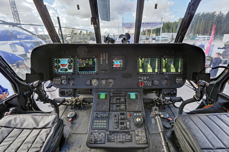 troop: KUBINKA, MOSCOW OBLAST, RUSSIA - SEP 06, 2016: International military-technical forum ARMY-2016. Mi-17V-5 troop transport helicopter (export version Mi-8). The cockpit