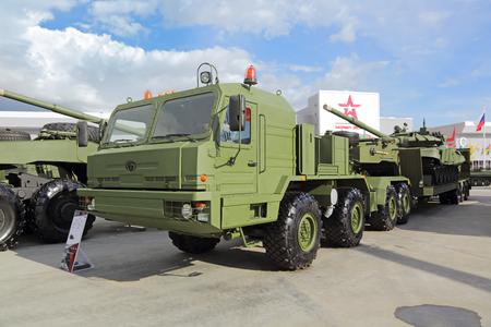 flatcar: KUBINKA, MOSCOW OBLAST, RUSSIA - SEP 06, 2016: International military-technical forum ARMY-2016. BAZ-6403 with semitrailer for transportation of heavy military equipment