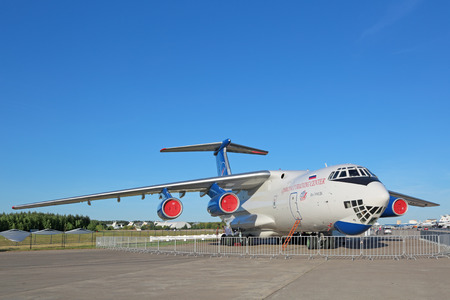 weightlessness: ZHUKOVSKY, MOSCOW REGION, RUSSIA - AUG 24, 2015: The Ilyushin Il-76MDK - airplane for training astronauts in conditions of weightlessness artificial at the International Aviation and Space salon MAKS-2015 Editorial