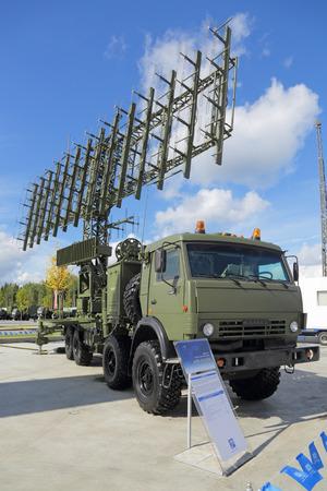 KUBINKA, MOSCOW OBLAST, RUSSIA - SEP 06, 2016: The mobile three-coordinate multi-range radar system 1L125E production VKO Almaz-Antey at the International military-technical forum ARMY-2016 Editorial
