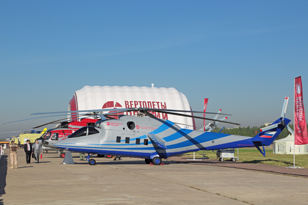 promising: ZHUKOVSKY, MOSCOW REGION, RUSSIA - AUG 25, 2015: Russian promising high-speed helicopter, flying laboratory at the International Aviation and Space salon MAKS-2015