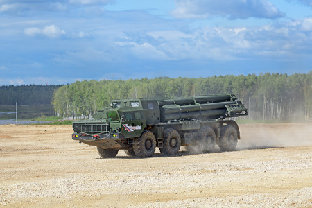 weaponry: MILITARY GROUND ALABINO, MOSCOW OBLAST, RUSSIA - SEP 10, 2016: The BM-30 Smerch is a Russian heavy multiple rocket launcher at the International military-technical forum ARMY-2016