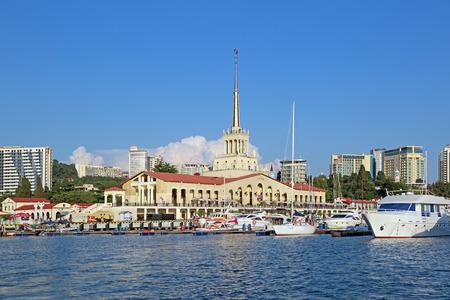SOCHI, KRASNODAR KRAI, RUSSIA - AUG 07, 2015: The building of Sochi marine commercial port on the waterfront Editorial