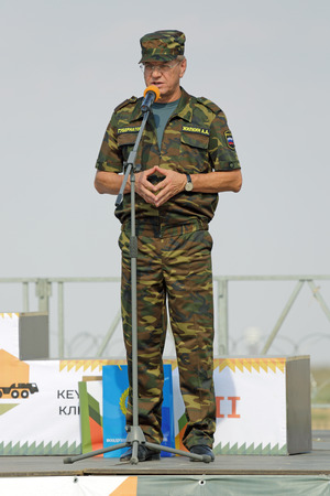ASHULUK TRAINING AREA, ASTRAKHAN REGION, RUSSIA - AUG 07, 2016: Alexander Zhilkin - Governor of Astrakhan region on the contest Keys to the sky within the International army games - 2016 Editorial
