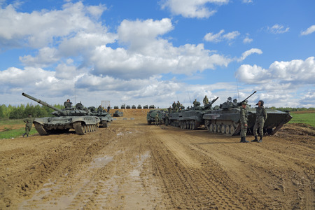 MILITARY GROUND ALABINO, MOSCOW OBLAST, RUSSIA - SEP 10, 2016: International military-technical forum ARMY-2016. Military equipment participating in the show Editorial