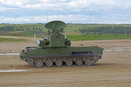 MILITARY GROUND ALABINO, MOSCOW OBLAST, RUSSIA - SEP 10, 2016: The Tunguska (SA-19 Grison) is a Russian self-propelled anti-aircraft gun-missile system at the International military-technical forum ARMY-2016