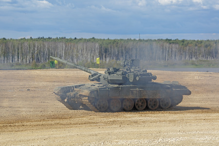 weaponry: MILITARY GROUND ALABINO, MOSCOW OBLAST, RUSSIA - SEP 10, 2016: The T-90 is a third-generation Russian battle tank at the International military-technical forum ARMY-2016