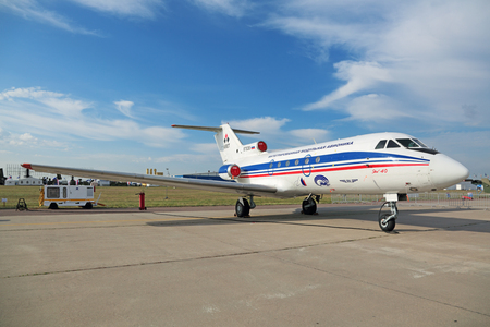 avionics: ZHUKOVSKY, MOSCOW REGION, RUSSIA - AUG 26, 2015: The Yakovlev Yak-40 Integrated modular avionics is a small passenger plane for local airlines at the International Aviation and Space salon MAKS-2015 Editorial