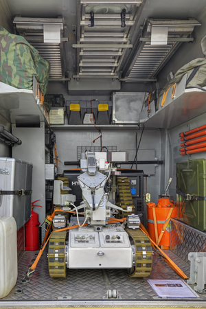 ionizing: KUBINKA, MOSCOW OBLAST, RUSSIA - SEP 06, 2016: International military-technical forum ARMY-2016. Complex of mobile search, collection and containment sources of ionizing radiations KM-PII