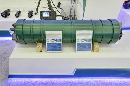 KUBINKA, MOSCOW OBLAST, RUSSIA - SEP 06, 2016: International military-technical forum ARMY-2016. Piston pneumatic hydroaccumulators