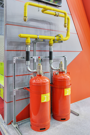extinguishing: KUBINKA, MOSCOW OBLAST, RUSSIA - SEP 06, 2016: International military-technical forum ARMY-2016. The equipment of automatic fire extinguishing