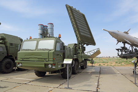 aerodynamic: ASHULUK TRAINING AREA, ASTRAKHAN REGION, RUSSIA - AUG 07, 2016: The international army games - 2016. The contest Keys to the sky. Interspecific tri-band mobile radar system of detection of aerodynamic and ballistic objects at medium and high altitudes 5