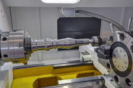 The workpiece in a Jaw Chuck lathe, nobody Stockfoto