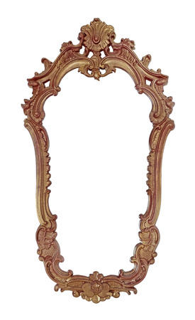 picture framing: Vintage wooden frame for a mirror is isolated on a white background