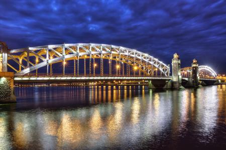 peter the great: Bolsheokhtinsky Bridge (before 1917 - Peter the Great Bridge) also known as Okhtinsky Bridge is a bridge across the Neva River in Saint Petersburg, Russia