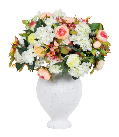 Clay vase with artificial flowers, isolated on white background