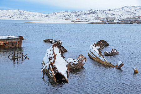 Old wrecks near the village of Teriberka, Murmansk oblast, Kola Peninsula, Russia