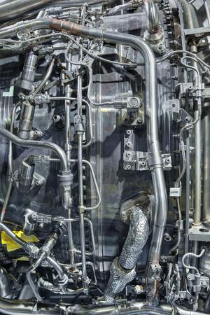 turbojet: Fragment of aircraft turbo-jet engine, background