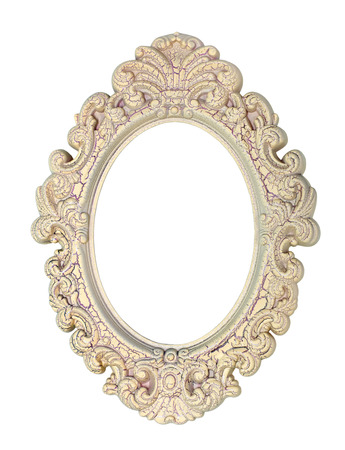 picture framing: Vintage wooden moulding for picture oval shape, isolated on white background