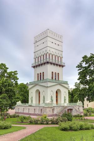 jousting: PUSHKIN, SAINT-PETERSBURG, RUSSIA - JUN 15, 2016: Tsarskoye Selo, Alexander Park, рavilion White tower (built 1821-1827 years)