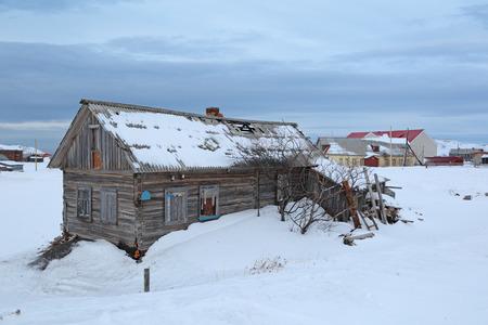 habitable: Old wooden house in the village of Teriberka, Murmansk oblast, Kola Peninsula, Russia