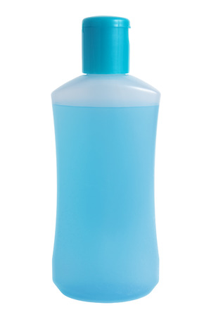 hygenic: Plastic bottle with blue liquid, isolated on white background Stock Photo