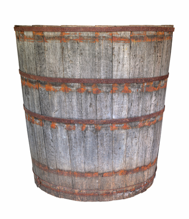 tun: An old large oak barrel, isolated on white background